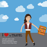 Travel infographics.Hipster Tourist Stock Photography