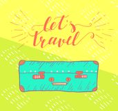 Travel inspiration quote with suitcase . Royalty Free Stock Images