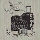 Travel inspiration quotes on suitcase silhouette. Vintage letter Royalty Free Stock Photos