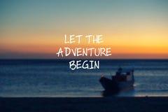 Let the adventure begin. Travel inspirational quotes - Let the adventure begin royalty free illustration