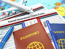 Travel insurance application form, passport and airplane on the. Map. 3d Stock Images