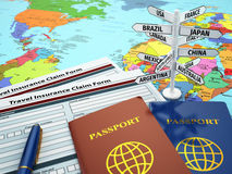 Travel insurance application form, passport and sign of destinat. Ion on the map. DOF effect. 3d Stock Images