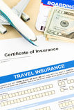 Travel insurance application form with plane model Royalty Free Stock Image