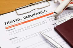 Travel insurance application form Royalty Free Stock Images