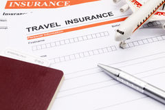 Travel insurance application form Stock Image