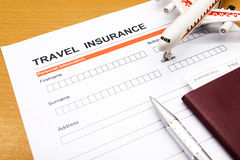Travel insurance application form Stock Photography