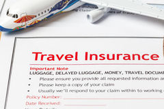 Travel Insurance Claim application form on brown envelope, busin Stock Photography
