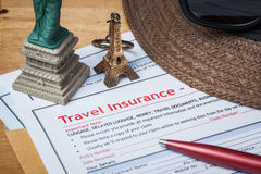 Travel Insurance Claim application form and hat with eyeglass an Royalty Free Stock Photo