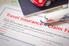 Travel Insurance Claim application form on table, business and r Royalty Free Stock Photography