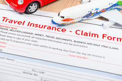 Travel Insurance Claim application form on table, business and r Royalty Free Stock Photos