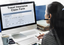 Travel Insurance Claim Form Concept. People Travel Insurance Claim Form Royalty Free Stock Photos