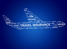 Travel insurance. Cloud tags. Travel insurance concept. Cloud tags in shape of aircraft Royalty Free Stock Photography