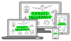 Travel insurance concept on different devices. Isolated on white stock illustration