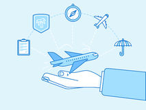 Travel insurance concept - illustration and infographics design Royalty Free Stock Images