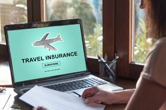 Travel insurance concept on a laptop screen Stock Images