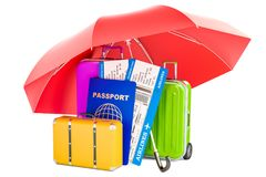 Travel insurance concept, passport with tickets and suitcases un. Der umbrella. 3D royalty free illustration