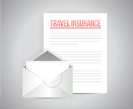 Travel insurance documents illustration. Design over a grey background Stock Photography