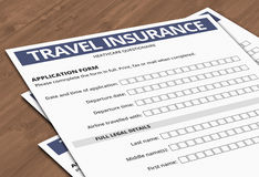 Travel Insurance Form Stock Photos