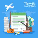 Travel insurance form concept vector illustration. Vacation background in flat style Royalty Free Stock Image