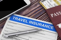 Travel Insurance Form near Mobile Phone, Passport and Air Tickets on a Wooden Table. 3d Rendering. Travel Insurance Form near Mobile Phone, Passport and Air vector illustration