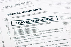 Travel insurance form Royalty Free Stock Photos