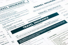 Travel insurance form Royalty Free Stock Photo