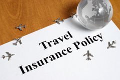 Travel Insurance. Peace of mind comes with the purchase of travel insurance Stock Photography
