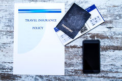Travel insurance policy Stock Image