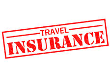 TRAVEL INSURANCE. Red Rubber Stamp over a white background Stock Images