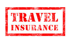 Travel Insurance rubber stamp. In red ink with white background Stock Photo
