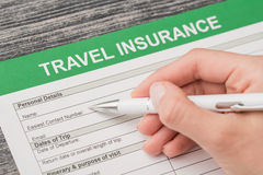 Travel insurance safe background. Stock Photo