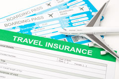 Travel insurance safe background. Travel agent ticket safe plan trip holiday model insurance money concept air form business security paper transportation Royalty Free Stock Images