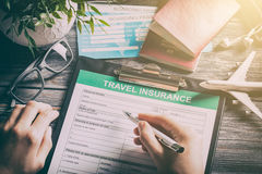 Travel insurance safe background. Royalty Free Stock Images