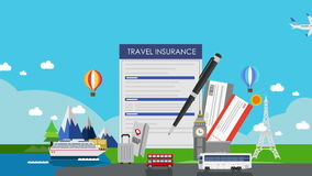 Travel Insurance for world travel, tour. air ticket. illustration animation(included alpha). Travel Insurance for world travel, tour. air stock video