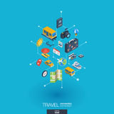 Travel integrated 3d web icons. Digital network isometric concept. Travel integrated 3d web icons. Digital network isometric interact concept. Connected graphic Stock Photo