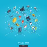 Travel integrated 3d web icons. Digital network isometric concept. Travel integrated 3d web icons. Digital network isometric interact concept. Connected graphic Royalty Free Stock Photos