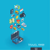 Travel integrated 3d web icons. Growth and progress concept. Travel integrated 3d web icons. Digital network isometric progress concept. Connected graphic design Royalty Free Stock Photo