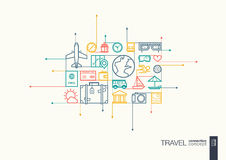 Travel integrated thin line symbols. Motion arrows vector concept, with connected flat design icons. Abstract background illustration for tourism, holiday Royalty Free Stock Photos
