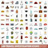 100 travel investigation icons set, flat style. 100 travel investigation icons set in flat style for any design vector illustration stock illustration