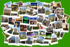 Travel in Ireland. Collage made of polaroids. Polaroids of various irish landmarks , historical buildings, ruins, rural views, on green background Royalty Free Stock Image