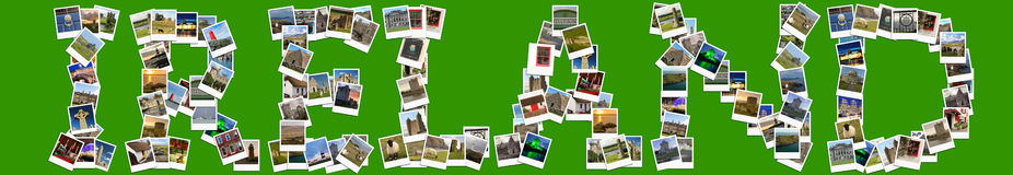 Travel in Ireland. Collage made of polaroids. Royalty Free Stock Photo