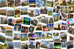 Travel in Ireland. Collage made of polaroids. Polaroids of various irish landmarks , historical buildings, ruins, rural views Stock Photos