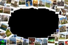 Travel in Ireland. Collage made of polaroids. Stock Photos