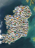 Travel in Ireland. Collage. Map made of polaroids. Royalty Free Stock Photography