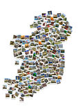 Travel in Ireland. Collage. Map made of polaroids. Royalty Free Stock Images