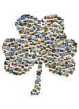 Travel in Ireland. Collage. Shamrock made of polaroids. Royalty Free Stock Photo