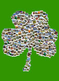 Travel in Ireland. Collage. Shamrock made of polaroids. Polaroids of various irish landmarks , historical buildings, ruins, rural views, arranged to form of Royalty Free Stock Photography