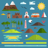 Travel Island Landscape Creator Set. Travel island constructor. Hill, lighthouse, beach objects, surfing bus, church and windmill landmarks. Summer landscape stock illustration