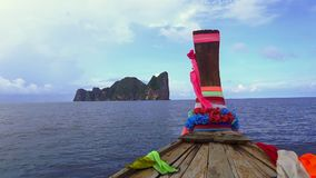 Travel the island With a long tail boat to PhiPhi stock footage