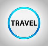 Travel Round Blue Push Button vector illustration